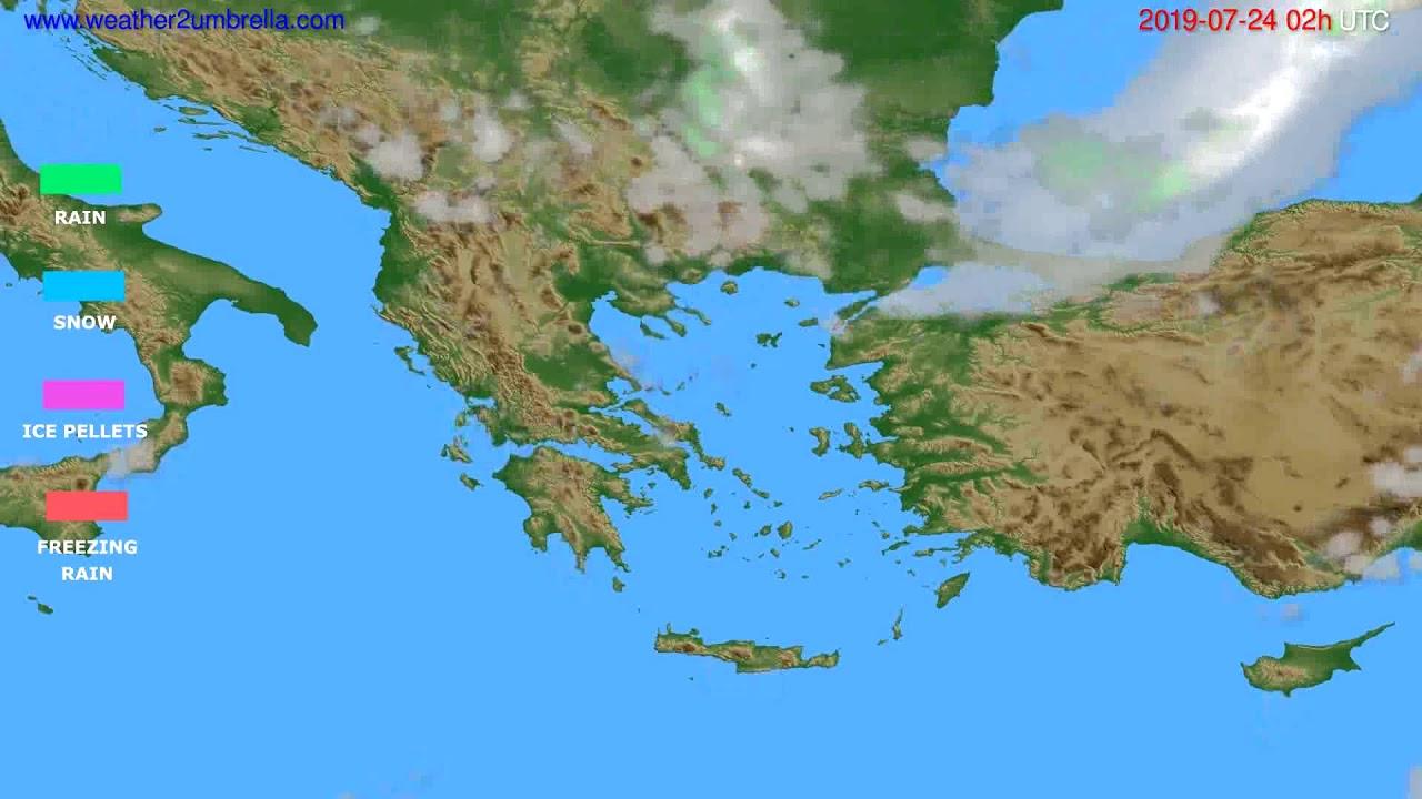 Precipitation forecast Greece // modelrun: 00h UTC 2019-07-22