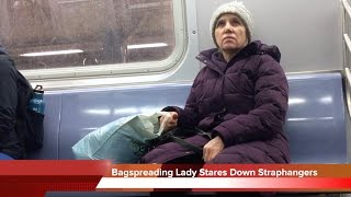 Wicked Bagspreading Lady Stares Down Straphangers