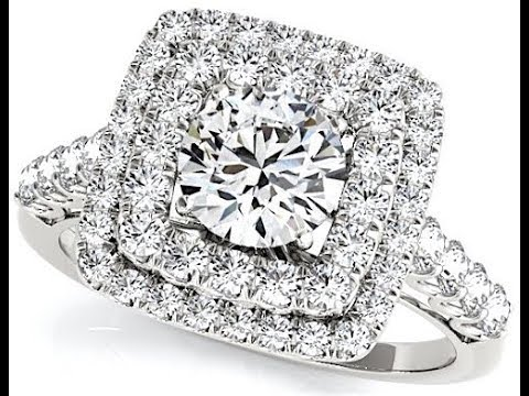 2 cts Round Diamond Engagement Ring Double Square Halo U Set on 14k White Gold