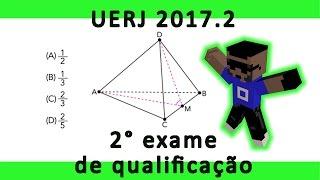 Questão 24 Resolvida Uerj 2° exame de qualificação 2017 Uma pirâmide com exatamente seis arestas congruentes é denominada tetraedro regular. Admita ...