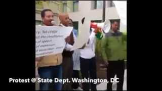 Protest demonstration at the office of Sec  Kerry at The State Department in Wa,DC April 28, 2014