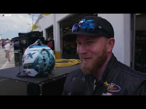 Jeffery Earnhardt shows off his Daytona 500 helmet