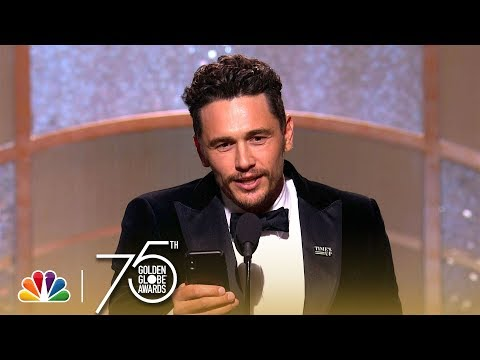 James Franco, wins best Actor for Disaster Artist, calls Tommy Wiseau on Stage
