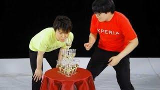 ライス出演・シャンパングラスタワーテーブルクロス引き/ソニー Xperia XZs CM2