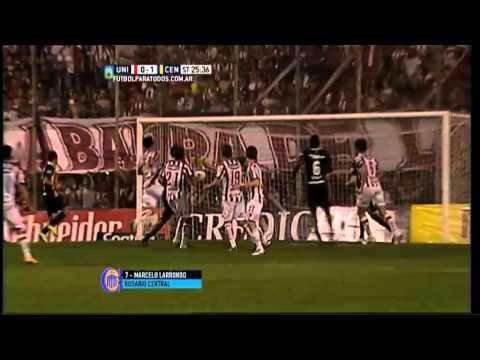 Gol de Larrondo. Unión 0 – Rosario Central 1. Fecha 22. Primera División 2015.