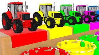 Colors with Tractors & Vehicles for Kids Educational Animation Cartoon for Children