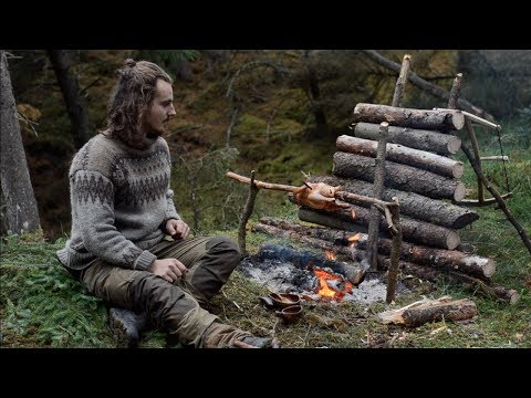 6 days solo bushcraft - canvas lavvu, bow drill, spoon carving, Finnish axe