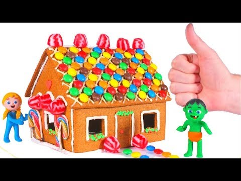 SUPERHERO BABIES MAKE A GINGERBREAD HOUSE ❤ SUPERHERO BABIES PLAY DOH CARTOONS FOR KIDS