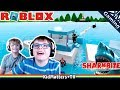ROBLOX Shark Bite! BAZOOKAS & a couple BROKEN BOATS | Let's Play Game Commentary [KM+Gaming S02E20]