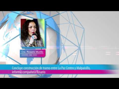Concluye construcción de tramo entre La Paz Centro y Malpaisillo, informa compañera Rosario