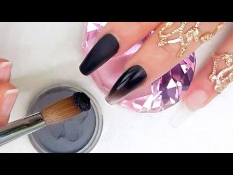 Uñas acrilicas - uñas acrílicas negras exóticas con efecto Black Chrome metálicas