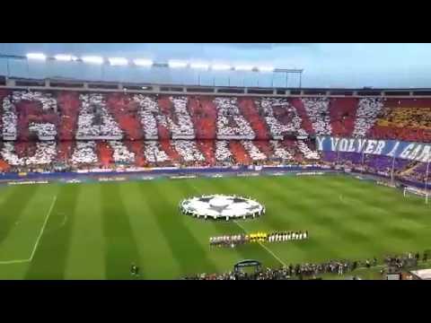 Video - Atlético de Madrid - Barcelona, Impresionante tifo himno de la Champions - Frente Atlético - Atlético de Madrid - España - Europa