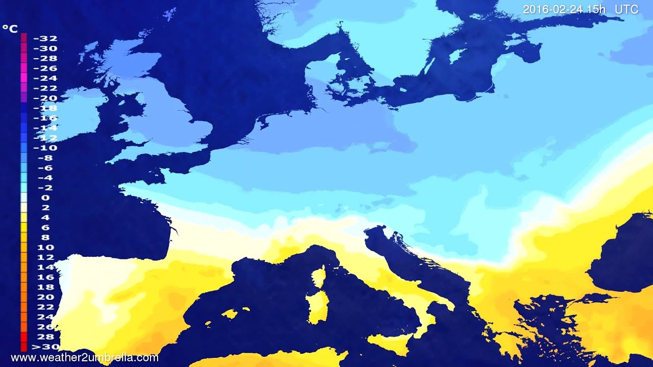 Temperature forecast Europe 2016-02-21