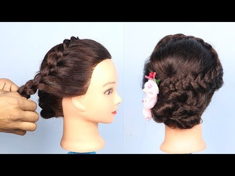 New hairstyle - New Bun hairstyle for Wedding/party  Perfect Bridal Bun step by step  hair styles girl