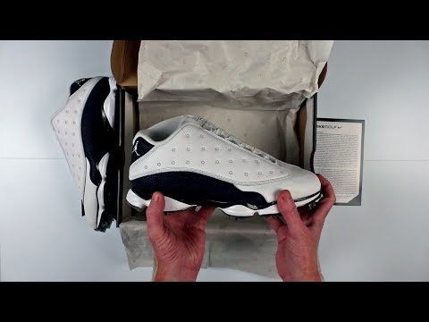 SOLD OUT  |  Nike Air Jordan 13 Golf Shoes Unboxing - Navy and White