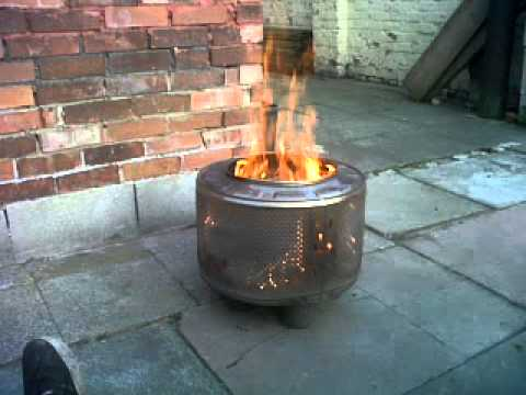 MyLemonking - Fire bin made from a washing machine drum.