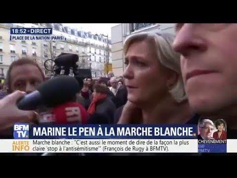Marine Le Pen huée à son arrivée au rassemblement en hommage à Mireille Knoll
