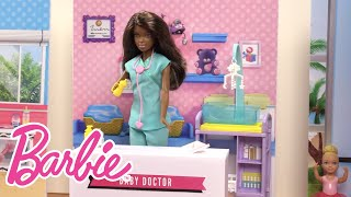 Barbie® knows that you can be anything you want -- and she wants her little sister Chelsea™ to know that, too! So when she and her friends go to the career fair, they bring their younger sisters along to explore it all. There they find that a baby doctor is in -- the doll and her Barbie® baby doctor play set are the perfect cure for nurturers and science lovers. Chelsea™ doll gets to hear her own heart and Barbie® doll's heart with the stethoscope, and she helps to feed the adorable twin baby patients. You'll heart this playset and this cool video. What else can you be? Check out the other booths at the Barbie® career fair in the video series and know that you can be anything you want, too!The dolls and play set included in this video are:Barbie® Fashionistas™ DollChelsea™ DollBarbie® Baby Doctor DollWatch more Barbie [playlist] videos: SUBSCRIBE: http://bit.ly/BarbieSubAbout Barbie:For over 57 years, Barbie has led girls on a path to self-discovery and helped them to imagine the possibilities. After over 180 inspirational careers, Barbie—along with her friends and family—continues to inspire and encourage the next generation of girls that they can be anything. Connect with Barbie Online:Visit the official Barbie WEBSITE: http://bit.ly/BarbieWebsiteLike Barbie on FACEBOOK: http://po.st/Barbie_FBFollow Barbie on TWITTER: http://po.st/Barbie_TwitterFollow Barbie on INSTAGRAM: http://po.st/Barbie_InstagramChelsea Doll Learns About Being a Baby Doctor  Barbie Careers  Barbie https://www.youtube.com/user/barbie