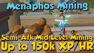 This is a video about mining in Menaphos and how you can obtain nearly over 150k XP/HR while training on the sandstone in...