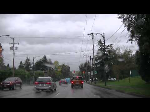 Driving on OAK Street in VANCOUVER Canada BC - typical Rainy Day w/ Free Improvised Jazz music