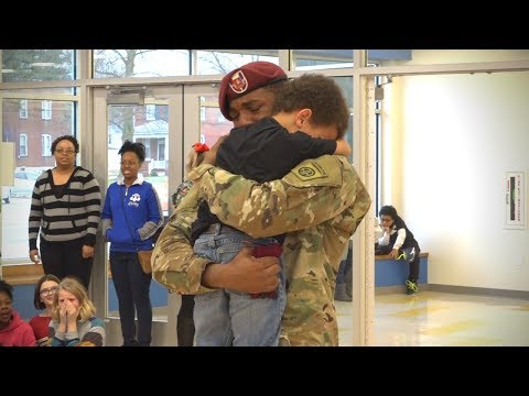 Military homecoming, soldier surprises his kid at school   EMOTIONAL