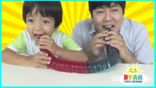 World's Largest Gummy Worm Gummy Bear and Snake Candy Challenge Real Messy Food Kids Candy Review