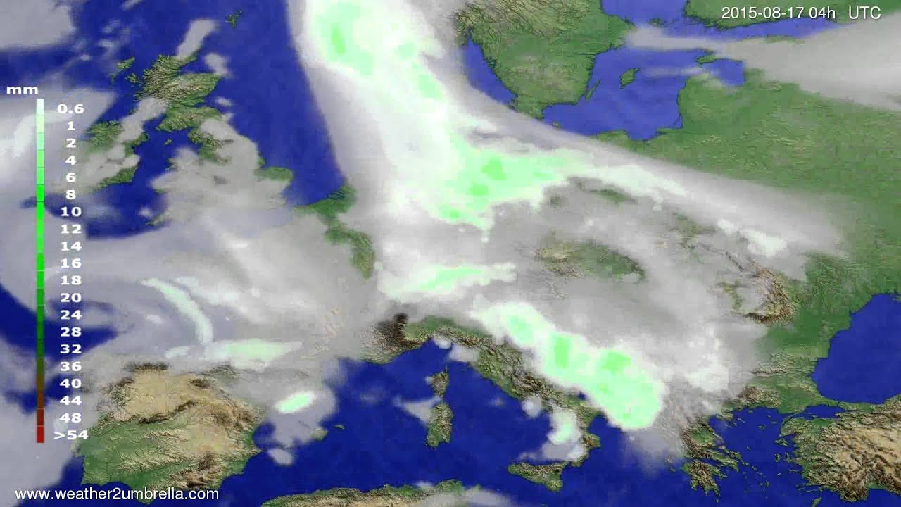 Precipitation forecast Europe 2015-08-13