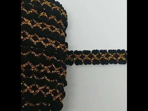 Passamanaria Galão Lã Preto Fios Lurex Dourado 20mm 5M