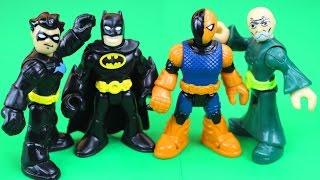Imaginext Nightwing saves Batman from Slade and ninja master warriors Samurai DC superhero