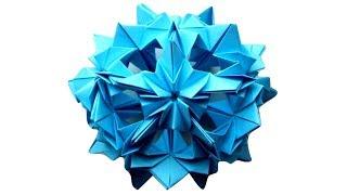 Шар Кусудама из бумаги. Новогодние Елочные Игрушки из бумаги