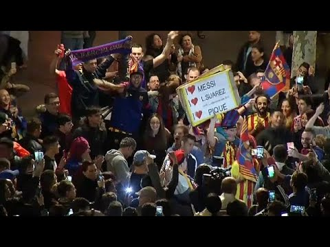 Barça-Fans feiern Double-Triumph: