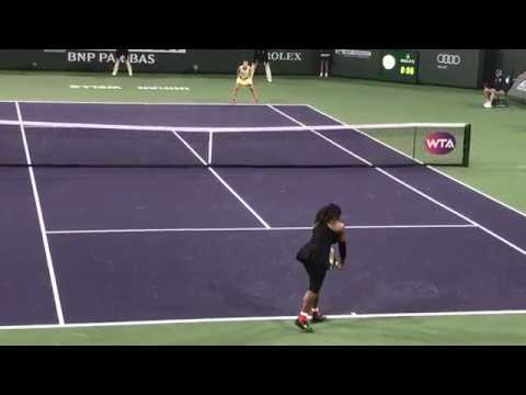GOAT Serena Williams Comeback at Indian Wells vs. Zarina Diyas, first two games