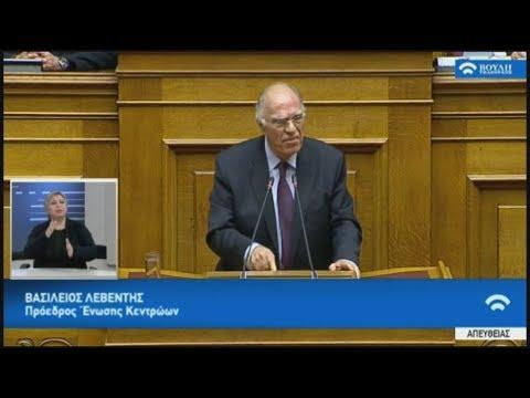 Απόσπασμα από την ομιλία του Βασίλη Λεβέντη στη συζήτηση στη βουλή για  ψήφο εμπιστοσύνης 16-01-2019