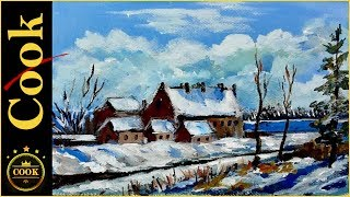 Painting a village cottages in the snow was recorded live and we.  aired this video a few years ago, on how to paint a european village  and  barn in the snow. Originally these videos were only up for a few hours and if you did not see it live you missed it.  As part of our 2017  Christmas In July month I am bringing this great tutorial back. It would make a super Christmas Card and I love the different colors needed to make shadows in the snow. This step by step tutorial is loaded with tips and tricks to make your experience painting with acrylics even better. You will learn how to, find a vanishing point, horizon line, shade snow with soft blues and purples ,sketch and draw in simple houses, and enjoy the holiday feeling of a winter wonderland with this impressionist style acrylic painting.  .
