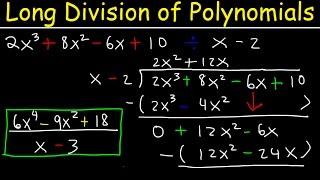 This video tutorial explains how to perform long division of polynomials with remainder and with missing terms.  It's explains how to do long division easily and it provides the step by step process to get it done.  Basically, there are 3 steps that you have to repeat.  1. Divide    2.  Multiply   3.  Subtract    This video contains plenty of examples and practice problems for you to master.