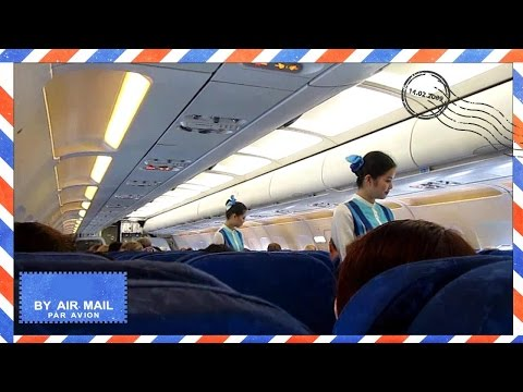 Cabin view takeoff of Bangkok Airways Airbus A319 from Koh Samui to Singapore