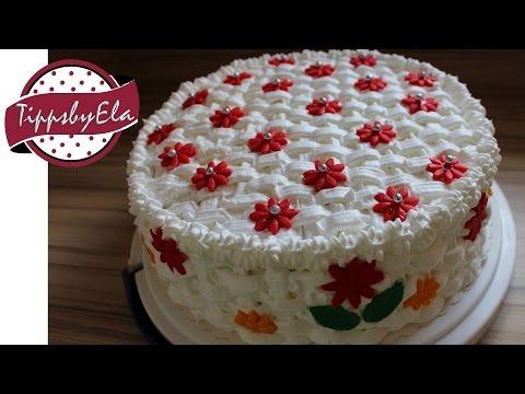 Basket pattern birthday cake (how to) Korb Torte Ideal als Muttertagstorte selber machen Anleitung