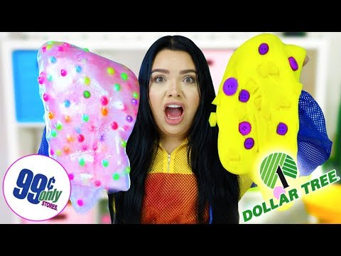 Dollar Tree VS 99 Cent Store Slime Challenge! Making Slime Using $1 Dollar Supplies