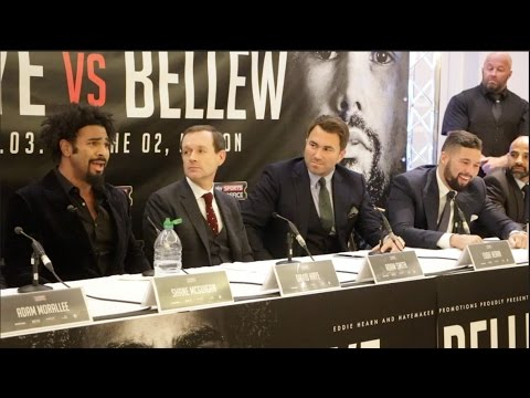 Watch: Haye, Bellew trade insults at heated kick-off presser