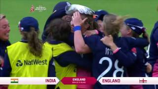 Anya Shrubsole bowls Rajeshwari Gayakwad to take her sixth wicket of the match and deliver the Women's World Cup to England.