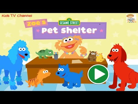 Sesame Street Zoe's Pet Shelter Kids Game Dogs Lizards Hamsters | Sesame Street Learning Games