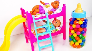 Video Baby Doll Bunk Bed Playset with Slide Learn Colors with Candy Babies Eating Lots of Candy MP3, 3GP, MP4, WEBM, AVI, FLV Maret 2018