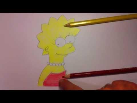 Lisa von Die Simpsons zeichnen – Simpson Figuren malen