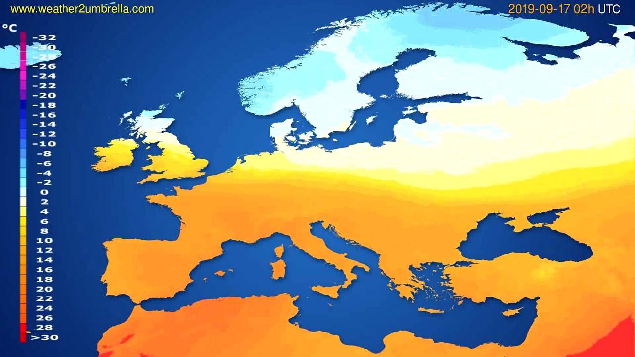 Temperature forecast Europe // modelrun: 00h UTC 2019-09-14