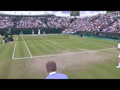 Janowicz smashes into the camera - Wimbledon 2014