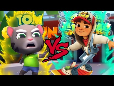 Talking Tom Gold Run VS Subway Surfers EPIC BATTLE!