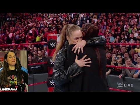 WWE Raw 4/9/18 Ronda Rousey hugs Stephanie McMahon