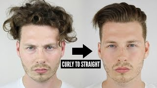 Mens Curly To Straight Hair Tutorial - How To Style Curly Hair...