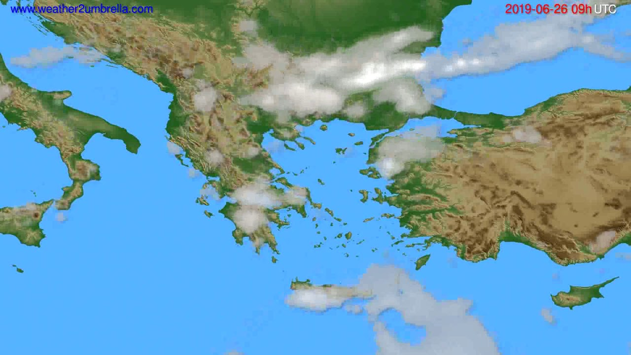 Cloud forecast Greece // modelrun: 12h UTC 2019-06-24
