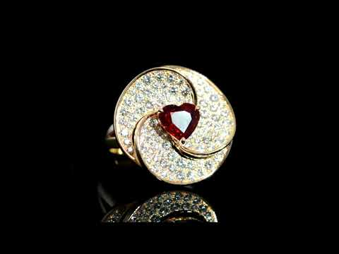 1.36ct Heart Shape Unheated 'Pigeon's Blood' Ruby and Diamond Ring